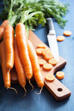 Fresh carrot on cutting board. Fresh carrots on cutting board Stock Photography