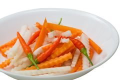 Fresh carrot, daikon, chili pepper pickled Stock Photos