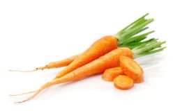 Fresh carrot fruits with green leaves Stock Photography