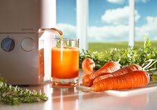 Fresh carrot juice Stock Images