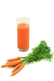 Fresh Carrot Juice. Isolated over white Stock Images