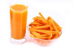 Fresh carrot juice isolated Stock Photos