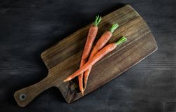 Fresh carrot on the old fashioned wood royalty free stock photo