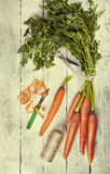Fresh carrot on rustic background Royalty Free Stock Image