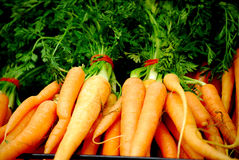 Fresh carrots. Fresh bunches of carrots in fruit and vegetable shop Stock Images