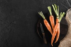 Fresh carrots bunch on a cutting board over dark stone table. Food concept, top view, copy space royalty free stock photos