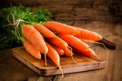 Fresh carrots bunch on cutting board Royalty Free Stock Images