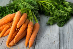 Fresh carrots bunch on wooden background. Fresh carrots bunch on grey wooden background Royalty Free Stock Photography
