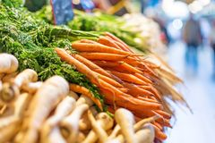 Fresh carrots at the central market in Budapest, Hungary. Image with selective focus Stock Images