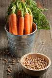 Fresh carrots and chickpeas Stock Photos