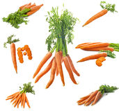Fresh Carrots Collage. Fresh Carrots on th white Royalty Free Stock Photography