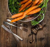Fresh carrots with green leaves wooden background Royalty Free Stock Image