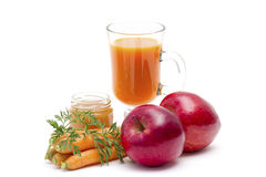 fresh carrots juice with apple and honey Royalty Free Stock Photography