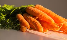 Fresh carrots with leaves, on white background.  Stock Photo
