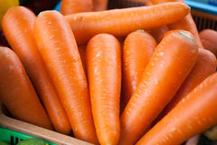 Fresh carrots at the market. Detail of some fresh carrots at the market royalty free stock photo