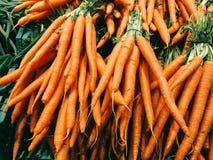 Fresh Carrots For Sale In Vegetable Market Stock Image