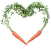 Fresh Carrots shaping a Heart Royalty Free Stock Images