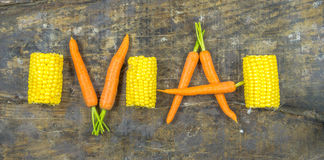 Fresh carrots and sweetcorn Royalty Free Stock Image