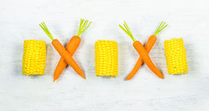 Fresh carrots and sweetcorn Stock Photo