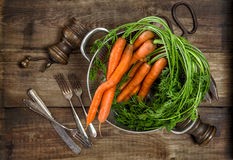 Fresh carrots on wooden background. Vegetable. Vintage style foo Stock Photography