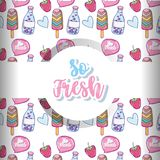 So fresh cartoons background. So fresh cartoons pattern background vector illustration graphic design Royalty Free Stock Photography