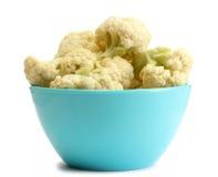 Fresh cauliflower in bright bowl Royalty Free Stock Photos