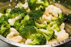 Fresh cauliflower and broccoli. Close-up Stock Photography