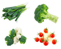 Fresh cauliflower and broccoli , Green Onion and. Cherry tomatoes and Greek cheese isolated on white background Royalty Free Stock Image