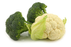 Fresh cauliflower and broccoli Royalty Free Stock Photos