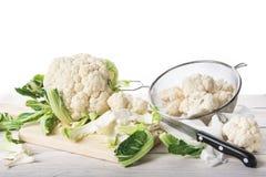 Fresh cauliflower on the cutting board Stock Photos