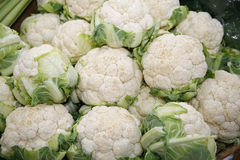 Fresh cauliflower on market stall Stock Image