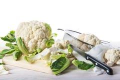 Fresh cauliflower on the cutting board Stock Image