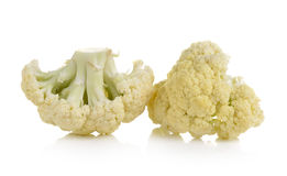 Fresh cauliflower on white background. Fresh cauliflower on a white background Stock Photo