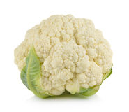 Fresh cauliflower on white background Stock Photos