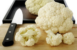 Fresh cauliflower on wooden Royalty Free Stock Images