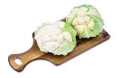 Fresh cauliflower on wooden table. Studio Photo Royalty Free Stock Photography