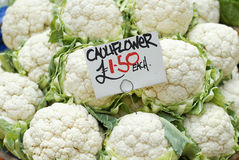 Fresh cauliflowers for sale Stock Photography