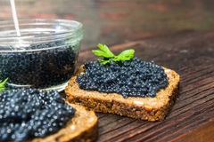 Fresh caviar for snacks and alcohol. Russian appetizer. Stock Photography