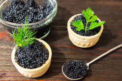 Fresh caviar for snacks and alcohol. Russian appetizer. Stock Images