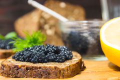 Fresh caviar for snacks and alcohol. Russian appetizer. Stock Photo