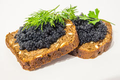 Fresh caviar for snacks and alcohol. Russian appetizer. Stock Photos