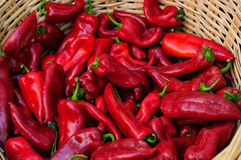 Fresh Cayenne Pepper On Basket Stock Photo