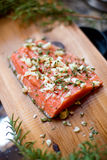 Fresh cedar plank salmon Royalty Free Stock Images