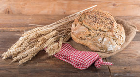 Fresh cereal bread with ears of wheat Stock Photos