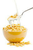 Fresh cereal cornflakes and milk stock photos