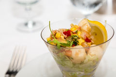 Fresh Ceviche in Glass on Table Stock Photography