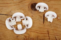 Fresh champignon mushroom sliced Stock Image