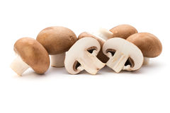Fresh champignon mushrooms isolated on white Royalty Free Stock Images