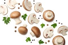 Fresh champignon mushrooms isolated on white background. top view royalty free stock image