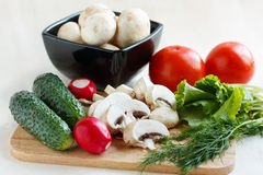 Fresh champignon and vegetables Stock Image